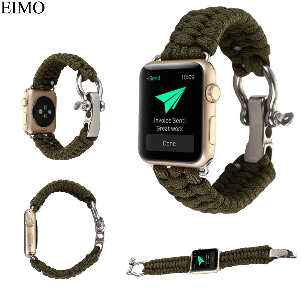 все цены на EIMO Woven Nylon Strap for Apple Watch Band 42mm 38mm Replacement Wrist bracelet Watchband for iwatch series 3 2 1 Accessories онлайн