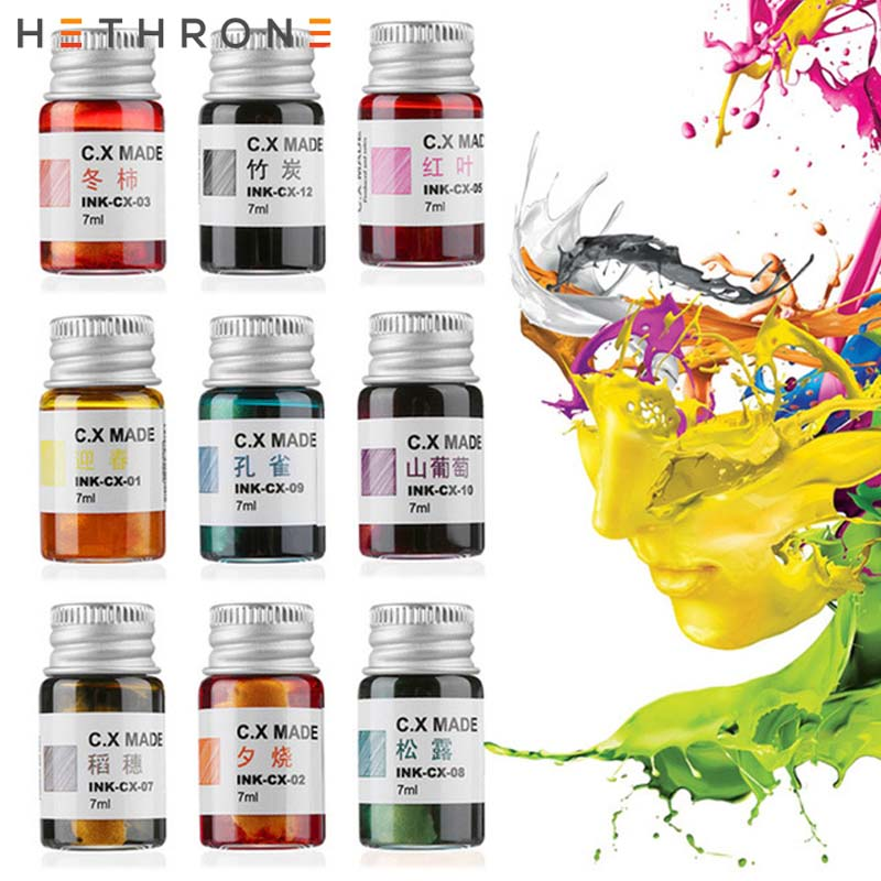 Hethrone 7ml High Colorful Smooth Writing Fountain Pen Ink Bottled Glass Pen Painting Signature Pen Calligraphy Drawing Graffiti