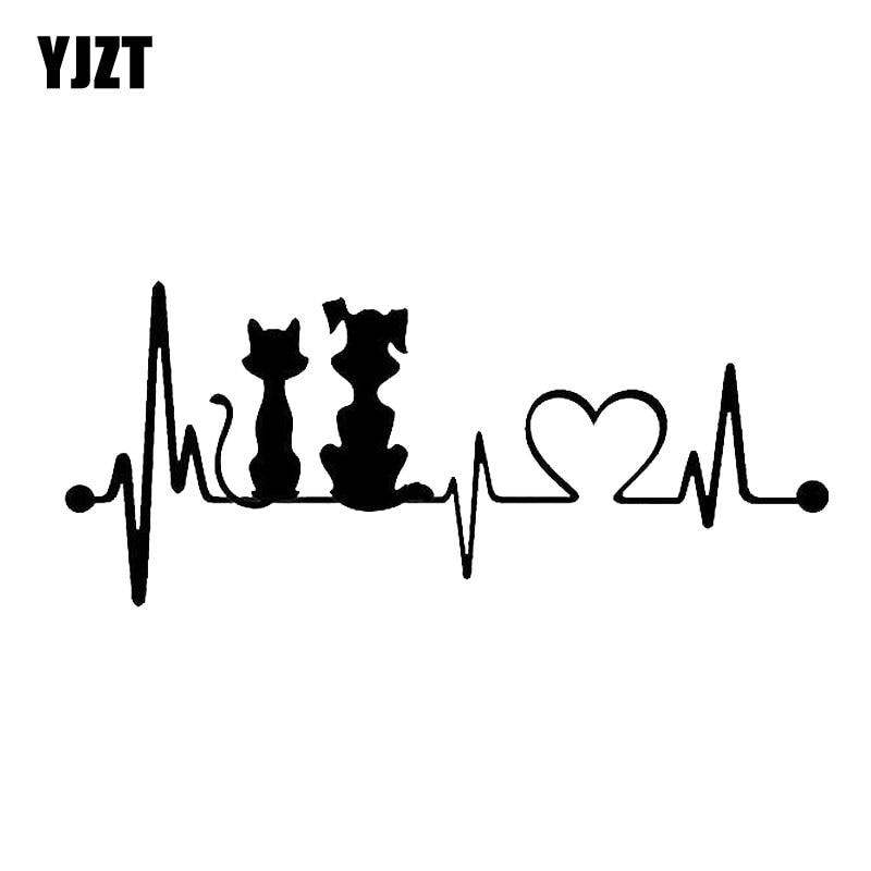 YJZT 19*8.2 см собака и Кот сердцебиение окна автомобиля украшения наклейки мода мультфильм наклейки автомобиль аксессуары С6-0802
