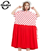Oladivi Plus Size Women Clothing Summer Style Polka Dot Print Patchwork Fashion Dress Ladies Casual Beach
