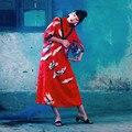 [AIGYPTOS-JWC] Design Original Primavera Verão Novidade Estilo Chinês Guindaste Impresso Mistura de Seda Meia Manga Solta Vestido Longo Do Vintage