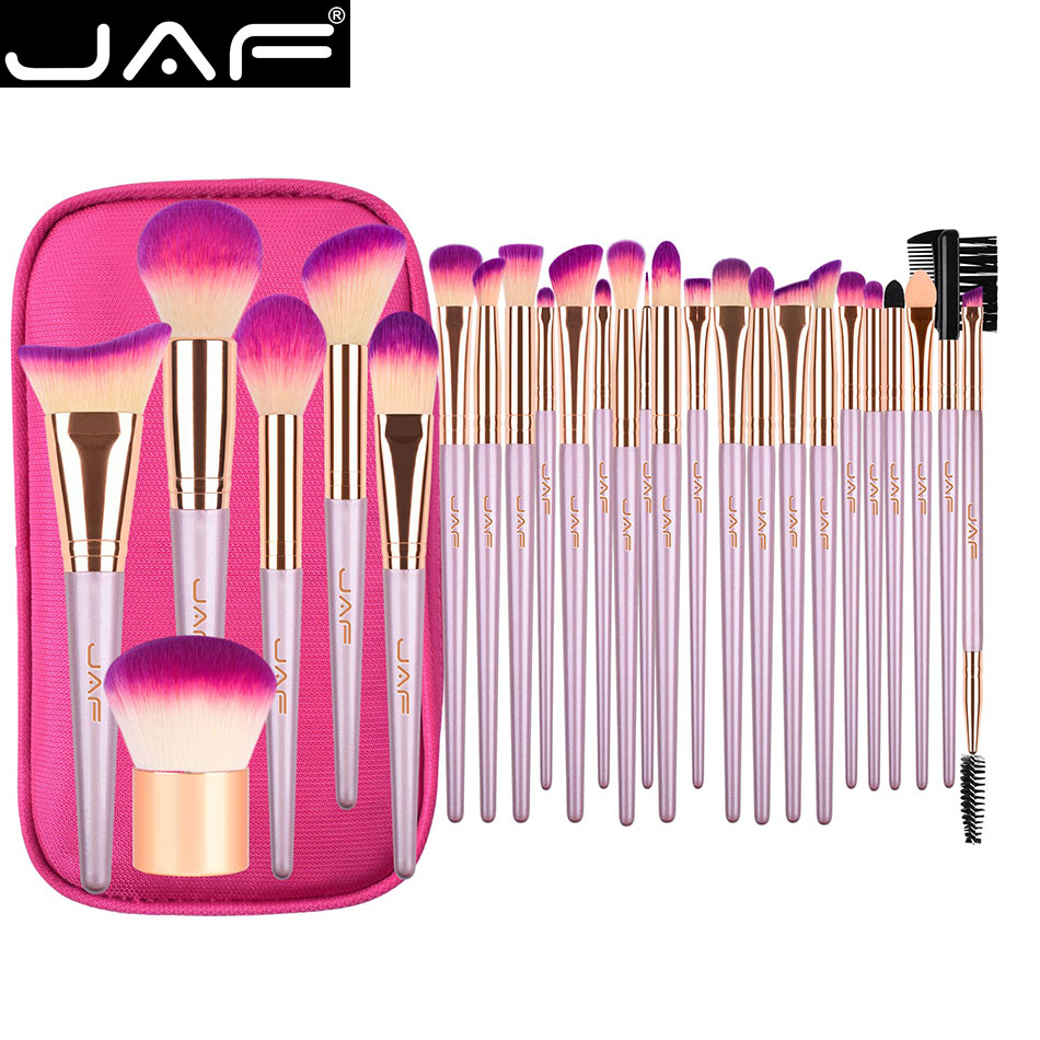 JAF 26 pcs Gold Makeup Brush Set with Zipper Case Cosmetic Bag Make Up Brushes Professional Studio Women Artist Travel Size