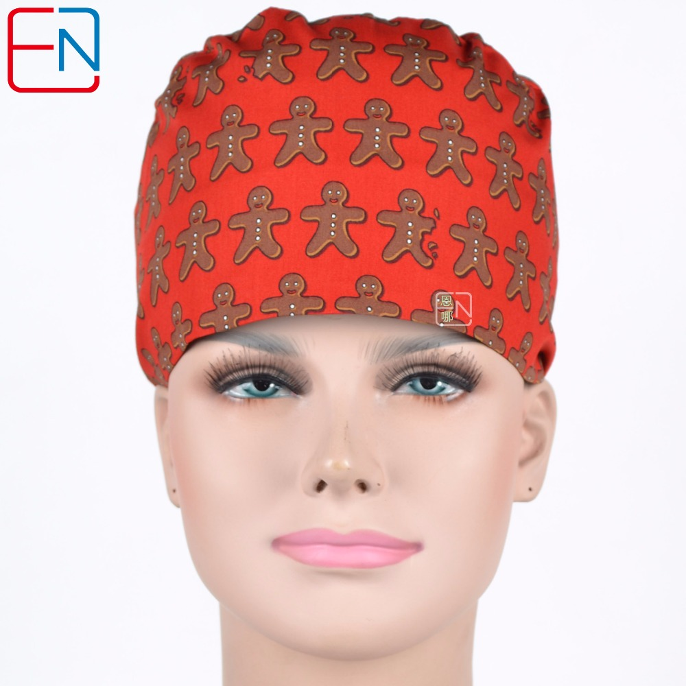 Surgical Caps Women In Red With Gingerbread