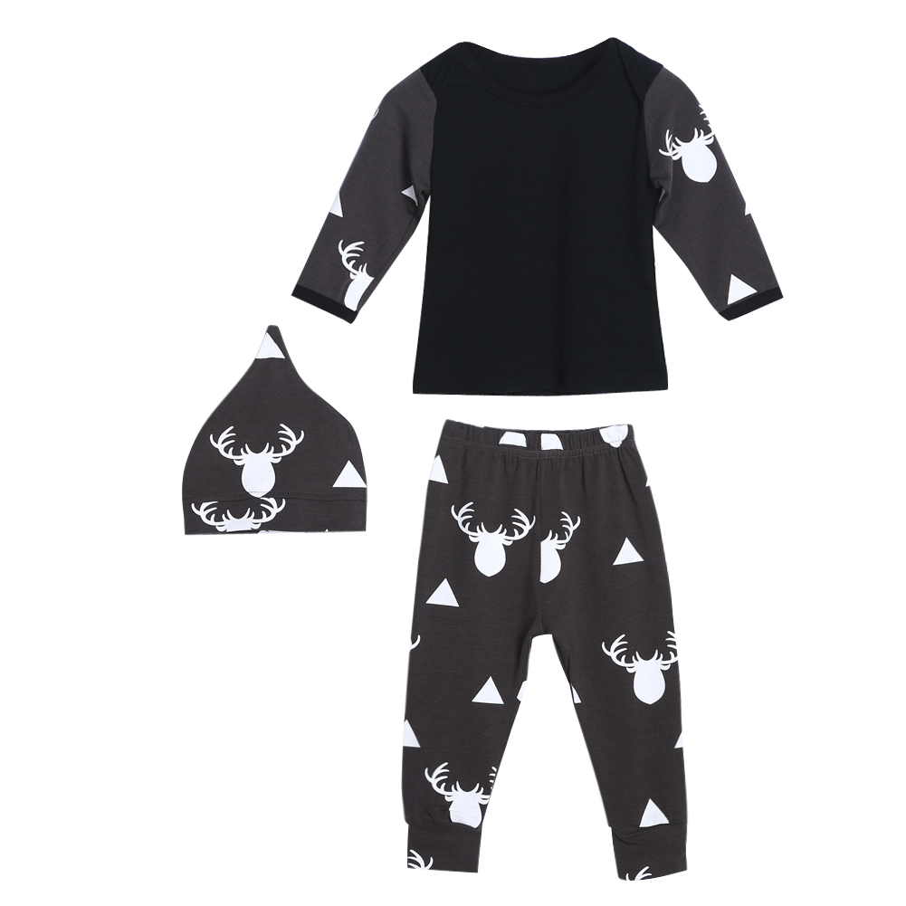 2018 New Baby Clothes Set Spring Unisex Boy Girl Infant Clothing Long Sleeve Top Pants Hat Sport Suit Infant Clothing