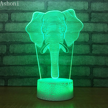 3D Elephant Shape Table Lamp LED Touch 7 Color Changing Night Light Party Decorative Home Decor Kids Christmas Gift