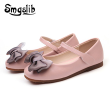 Baby Girls Shoes Kids Dance For Princess Party Birthday Wedding Casual Pu Leather Children Bowtie Sneaker
