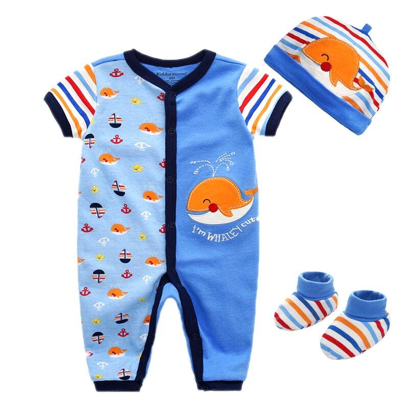 Baby Rompers Long Sleeve One Piece Jumpsuit 100 Cotton Unisex Baby Cap Hat Newborn Baby Boy