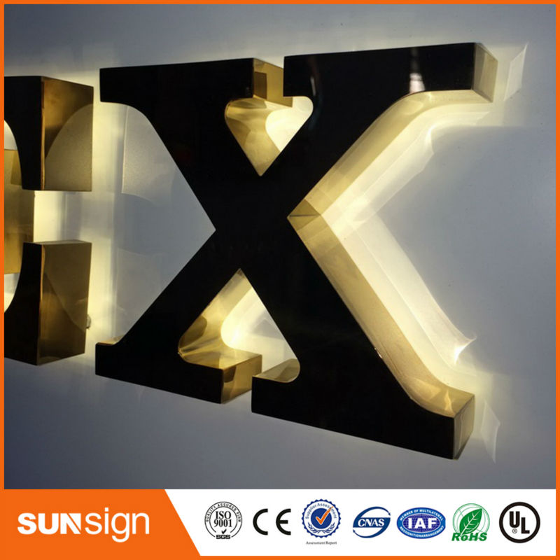 Weatherproof Polished Backlit Blue Led Letter Sign Backlit LED Metal Letter Sign