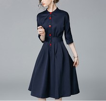 купить Elegant Navy Blue Three Quarter Sleeve Shirt Dress Three Quarter O-Neck Button Midi Dress Solid Colors A-Line Office Work Dress дешево