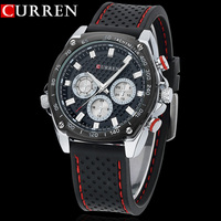 NEW Curren Sports Military Watch Brand DIAL CLOCK HOURS HAND BLACK LEATHER STRAPS MENS WRIST WATCH