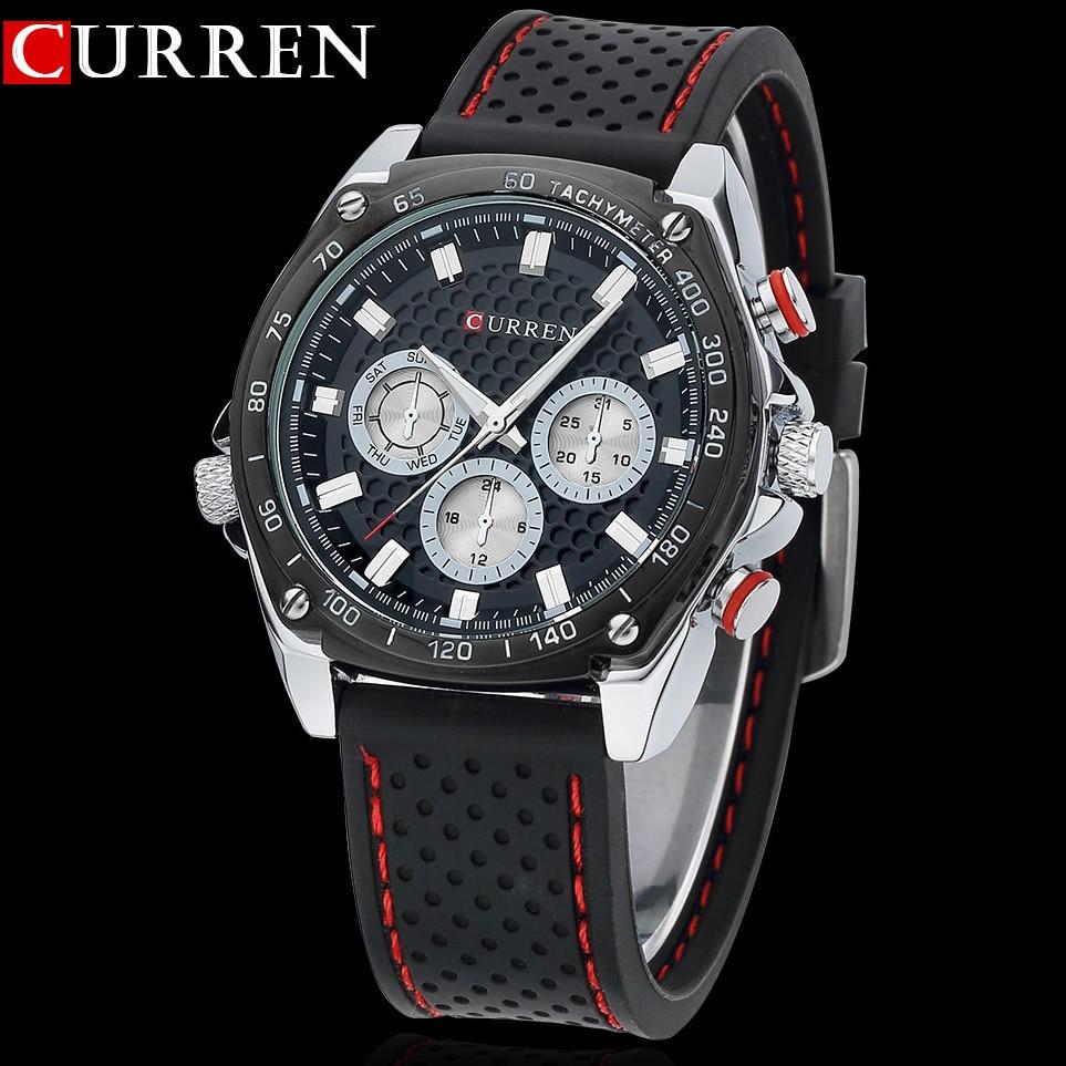 Nueva Curren deportes Militar reloj marca Dial reloj horas mano negro correas de cuero para hombre reloj 3atm impermeable Relojes