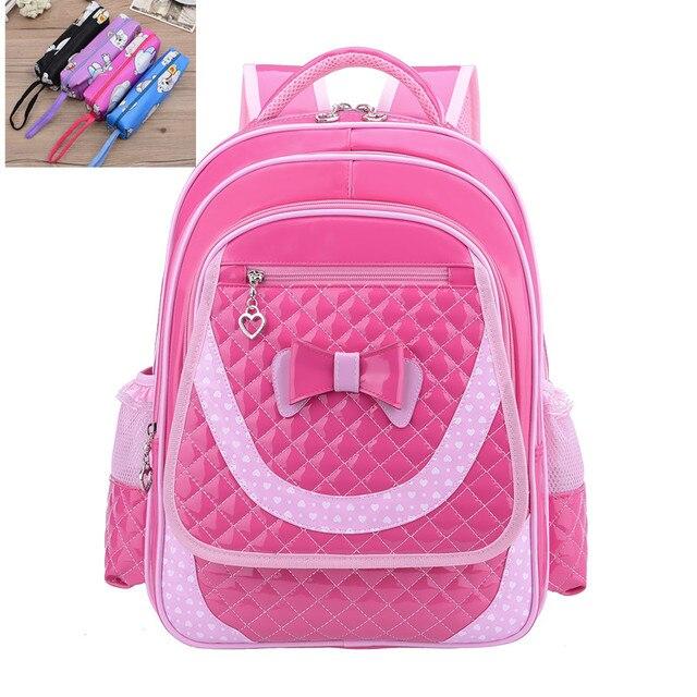 Kids Princess Girls Primary School Backpack Pink Purple Cute Bowknot  Children Student PU Leather Backpacks Daypack Mochila Bag 510e6f2cb9b5b