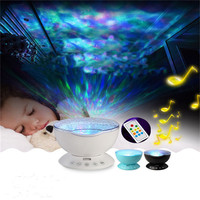 Ocean Waves Starry Projector LED Night Light Romantic Cosmos USB Charge Music Speaker Remote Control Children