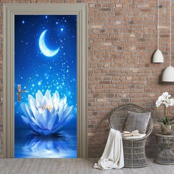 3D Lotus Starry Sky Poster PVC Waterproof Entire Door Sticker Creative Stickers Door Wall Sticker DIY Mural Bedroom Home Decor