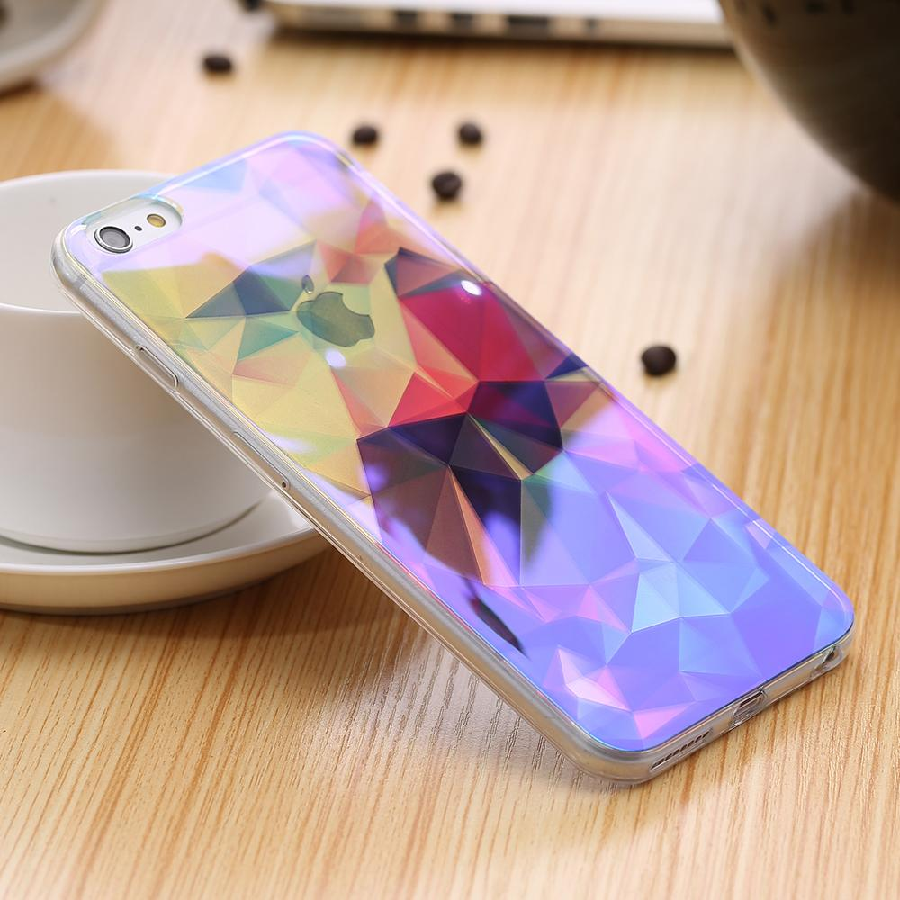 KISSCASE Modern Blue <font><b>Blu-Ray</b></font> Light TPU Case For iPhone 6 6s 7 7 Plus 5 5s SE Luxury <font><b>Shining</b></font> Ultra Slim Thin Back Protective Case