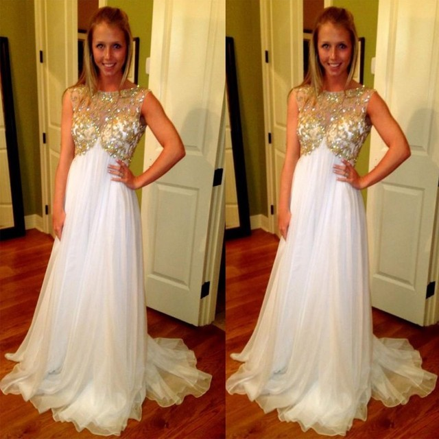 2e4aab898d0cd Pregnant Evening Gowns White and Gold Maternity Prom Dresses with  Rhinestones 2016 A Line Graduation Chiffon abent lange kleid