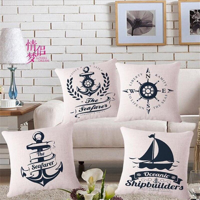 Modern Home Decorative throw pillows Sea Sailing Cushion Cover Boat Anchor Cushion cover funda cojines travel 45x45cm