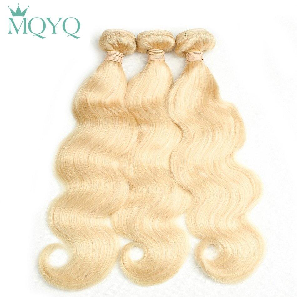 Mqyq Малайзии светлые расширения Средства ухода за кожей волна 100% Человеческие волосы толстые пачки Ткачество #613 Волосы Remy утка
