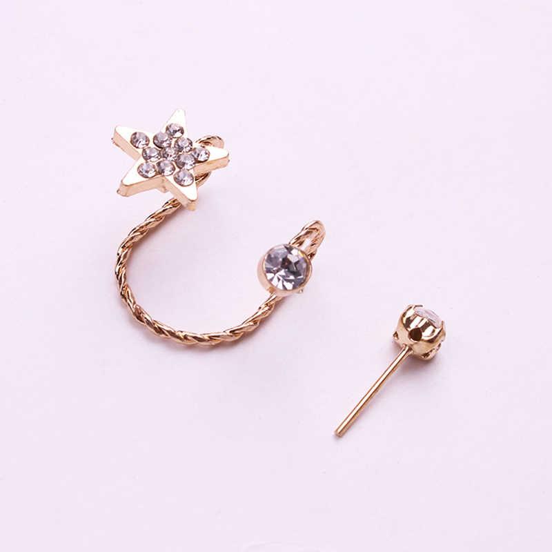Pendientes ROMAD pentagrama de cristal Clip-on Clips coreanos pendientes sin Clip para oreja perforada puño niñas Clip para hueso del oído joyería R4