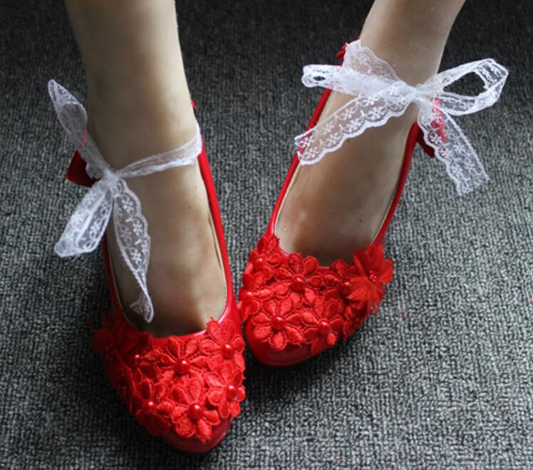 Sweet red lace bow lace up party pumps shoes woman high heel round toes slip on
