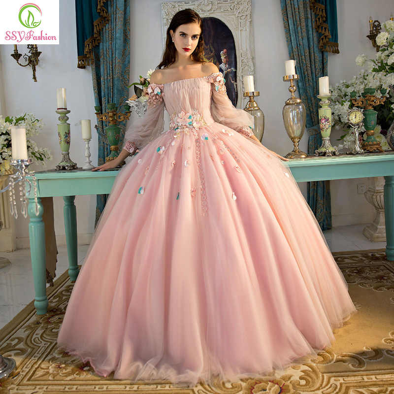 ad8f21dced Vestido De Noiva SSYFashion Romantic Flower Fairy Prom Dress Banquet Luxury  Long Sleeves A-line Organza Party Formal Dresses