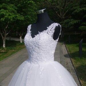 Image 5 - כדור שמלות ספגטי רצועות לבן שנהב טול שמלות כלה 2020 עם פניני כלה שמלת נישואים לקוחות Made גודל