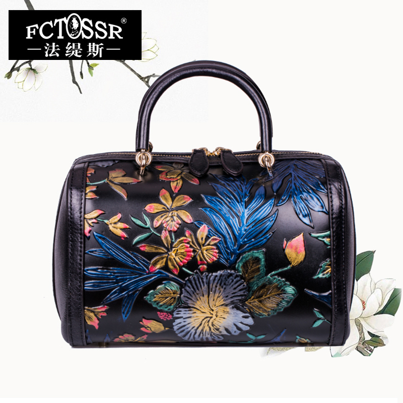 Women Bags 2018 Summer Leather Handbags Genuine Leather Shoulder Messenger Bags Hand Painted Design Females Crossbody Bags