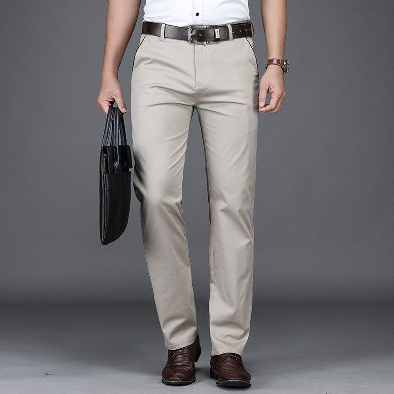 2019 New arrival przypadkowi męskie spodnie bawełniane wysokiej jakości biznesu spodnie Regular fit proste męskie spodnie kombinezony plus rozmiar 42 w Spodnie nieformalne od Odzież męska na AliExpress - 11.11_Double 11Singles' Day 1