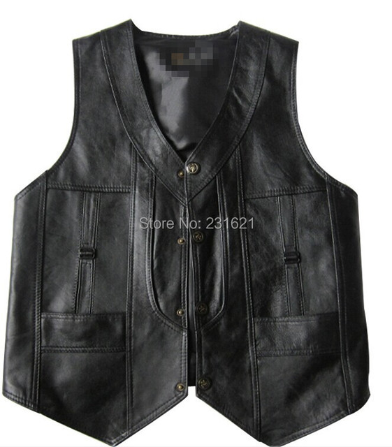 Single sheepskin leather vest leather vest quinquagenarian spring and summer vest fur male genuine leather plus size