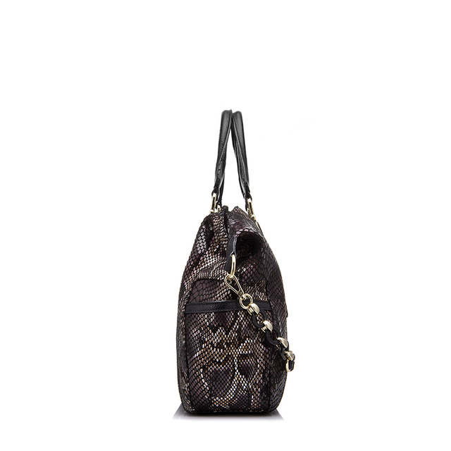 REALER brand genuine leather tote bag female fashion serpentine prints leather handbags women boston bag large shoulder bag