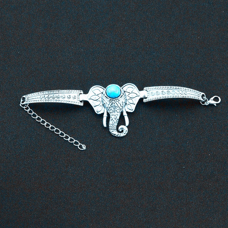 Metal With Silver Plated Turquoise Elephant Bracelet