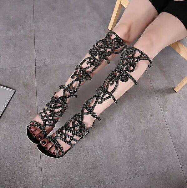 ФОТО Chuassure female boots Summer footwear open toe buckle strap black boots high heels crystal design cutouts sandals gladiators