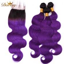 ☼  T1b Фиолетовые пучки объемной волны Ombre с закрытием Индийские пучки человеческих волос