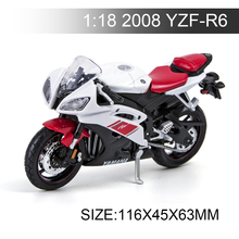 Maisto 1:18 Motorcycle YAMA 2008 YZF-R6 Metal Diecast Models Motor Bike Miniature Race Toy For Gift Collection