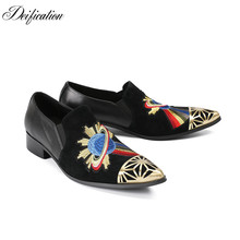 Deification Italian Style Pointy Toe Velvet Slippers Mocasin Hombre Metal Dress Shoes Men Embroidery Loafers Plus Size 38-46
