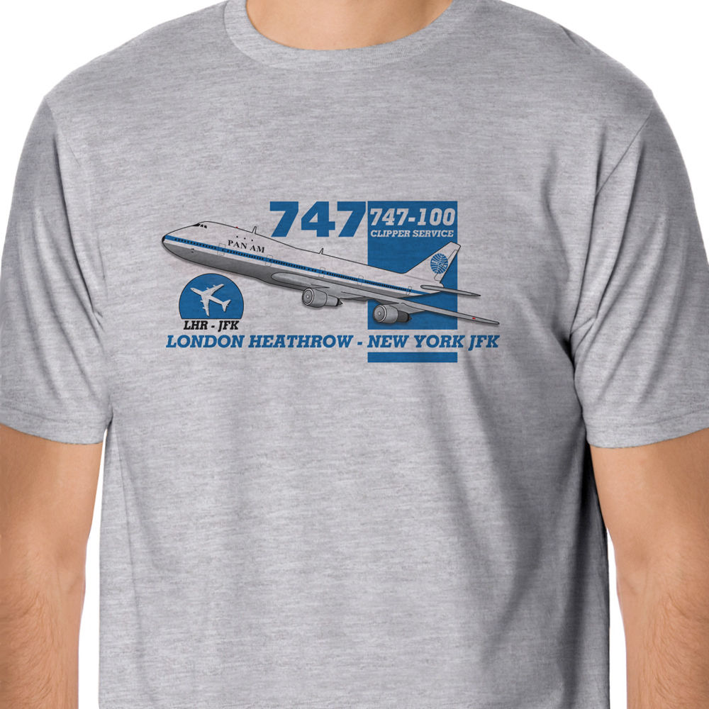 100 % Cotton T Shirt For Men Design Tops Retro Flight - Pan Am Boeing 747 Heathrow - New York Design Korean T-Shirts