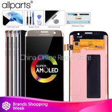 5.5 Asli AMOLED S7 Layar Edge untuk Samsung Galaxy S7 Tepi Tampilan Layar Sentuh dengan Frame untuk Sasmsung S7 Edge LCD G935F