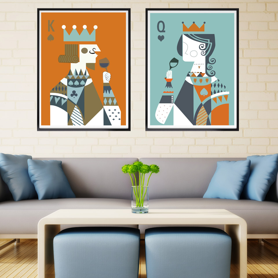 Cartoon Playing Cards K Q Minimalism Art Canvas Poster Print Painting  Picture Modern Home Wall Decoration No Frame Free Shipping-in Painting &  Calligraphy ...