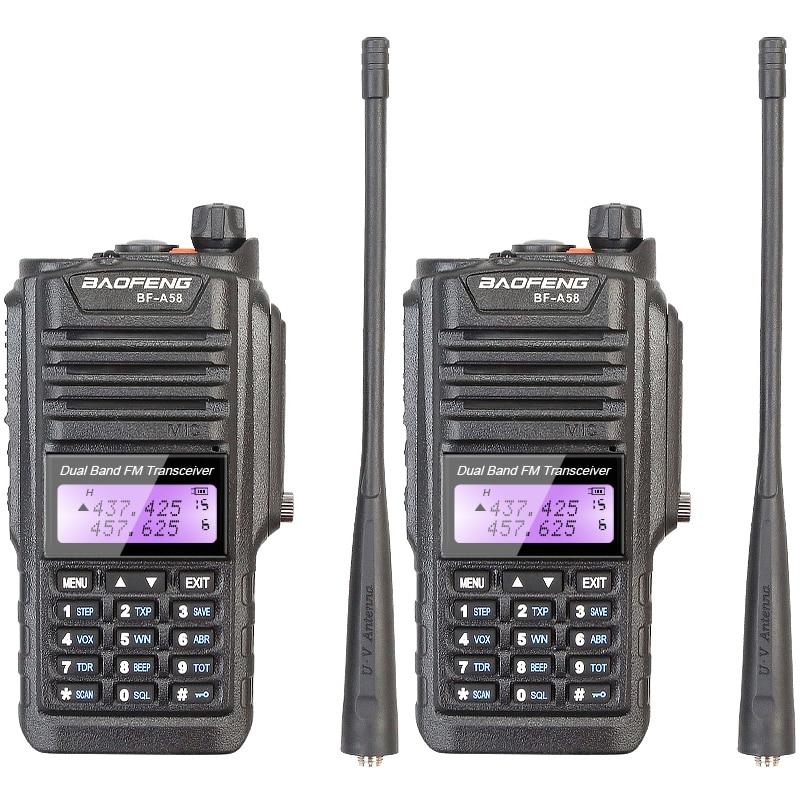 Original Brand New Baofeng Walkie Talkie BF-A58 128CH Dual Band 136-174MHZ & 400-520MHZ IP57 Vattentät Dammsäker Tvåvägs Radio