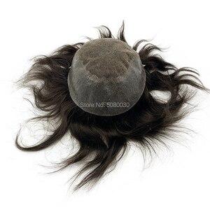 Image 3 - Мужская система для волос Q6 стильные мужские волосы система шнурка волос естественная линия волос Отбеленный узел remy волосы