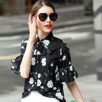2017 Women Blouses Elegant Shirt Floral Casual Printed Runway Cute Ladies Spring Summer Black Korean Spring