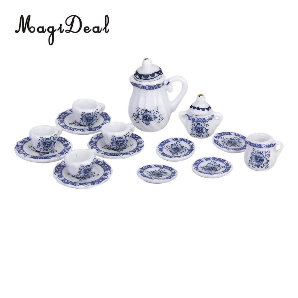 Set Tea Pot Blue Flower Dollhouse Miniatures Ceramic Cookware /& Tableware Decor