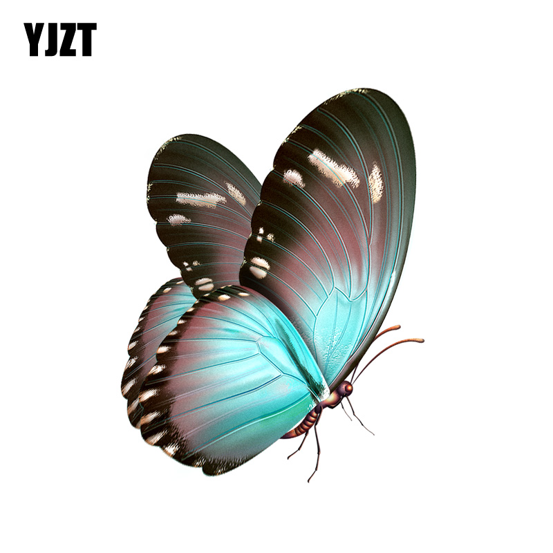 YJZT  10.7CM*13.8CM Beautiful Hand Drawn Butterfly Decal PVC Motorcycle Car Sticker 11-00655