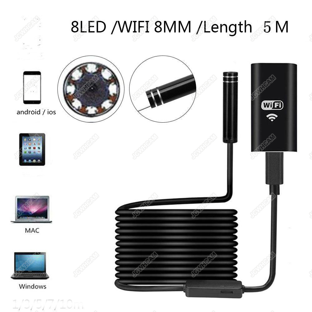 8mm Lens Wifi Android Mini Endoscope Camera 1M 2M 3.5M 5M Waterproof Snake Tube Pipe Borescope 2.0M For Iphone Camera Endoscope 2m 2 0mp 8mm led android endoscope waterproof borescope tube video camera