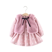 2019 Winter Thick Warm Baby Girl Dress With Faux Fur Vest Long Sleeve Kids Dresses For Girls Clothes Pink Flannel Princess Dress amya baby girls winter dress thicken warm faux fur vest toddler girl dress 2pcs princess costume kids clothes tutu girls dresses