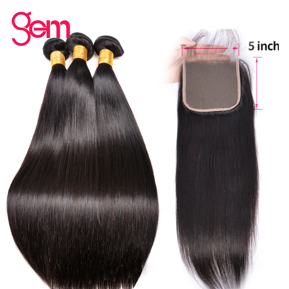 Straight Bundles With 5x5 Lace Closure 30 Inch Human Hair Bundles With Closure GEM Brazilian non