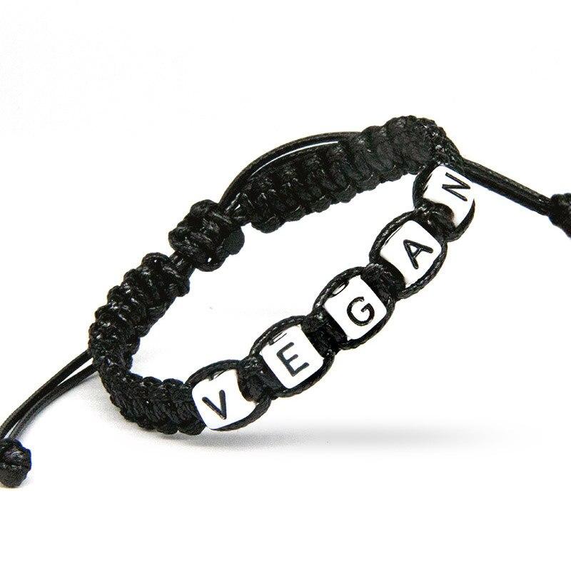 1pcs VEGAN is Respectable Charm Bracelets Rope Chain Infinity Wish Adjust Size for Vegetarian Beaded Jewelry Gift Decor Supplies pulseras de pareja de rey y reina