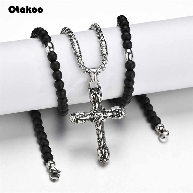 Otakoo Rosary necklace Jesus christ cross pendant necklaces Stainless Steel bead long chain mens women christian fashion jewelry