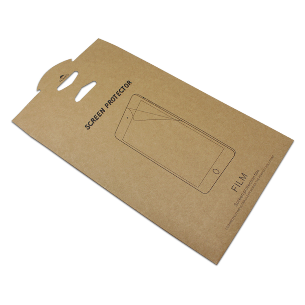 Brown Tablet PC Screen Protector Film Packaging Paper Box Packing Pouches Protective Film Bag For IPad