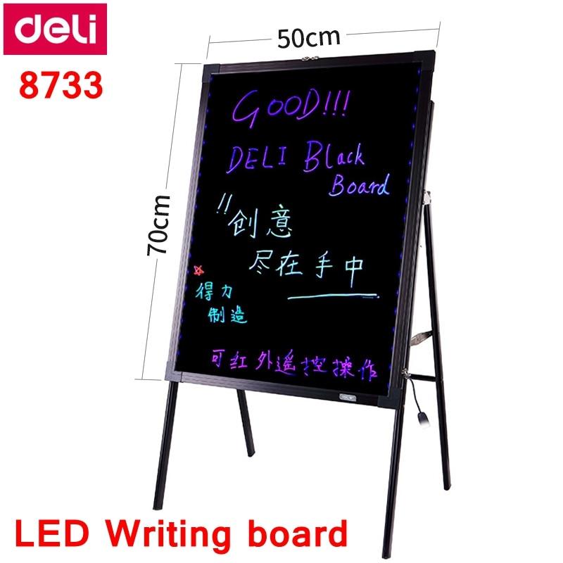 deli 8733 led placa de escrita 20x28 50x70 cm placa fluorescente eletronica com suporte 16 cores